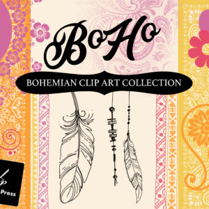 BoHo Bohemian Clip Art Collection Designer Kit
