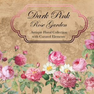 Dark Pink Rose Garden Floral Design Collection