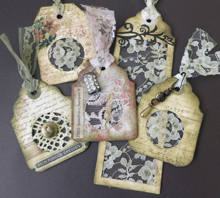 Read more about the article Lace Treasures – Scrapbusting – Tag Ephemera Project