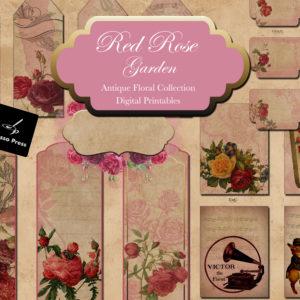 Red Rose Garden Antique Floral Design Collection Digital Printables