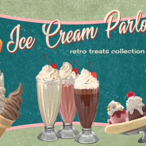 Ice Cream Parlor Retro Treats Design Collection
