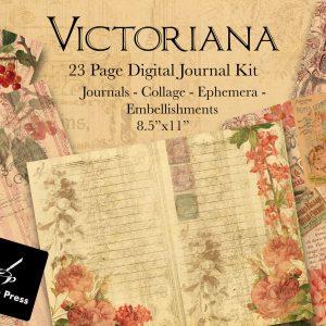 VictorianaDigitalPrintableJournalKitCover